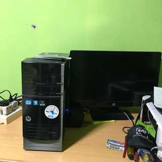 Hp desktop with 24 inch led monitor with cannon printer