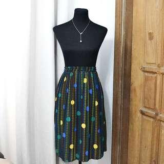 Pleated Polka Midi Skirt