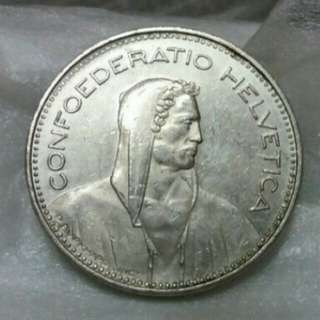 Helvetica 5Fr Big Size Coin 1995B