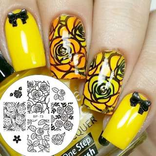 BORN PRETTY 1 Pc Chic Rose Flower Pattern Nail Art Stamping Template BP Nail Art Stamp Plate