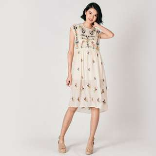 (PO) Dainy Embroidered Off-White Dress