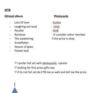 WTB GFriend album & photocard