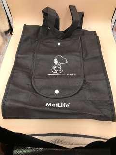 全新 MetLife Snoopy 黑色環保袋 (35cmx28cm)