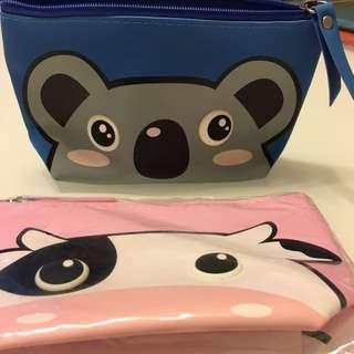 Animal koala bear cow blue pink pouch