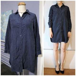 無印良品 藍灰燈芯絨襯衫式連身裙 MUJI