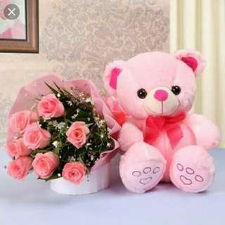 Affordable Flower bouquet with teddy bear