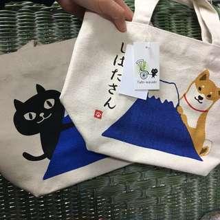 富士山提袋 Fuji 柴柴 柴犬 便當袋 小提袋 手提袋 環保袋 現貨 🇯🇵