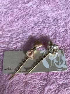 Hair clip ribbon & pearl from Japan ¥1000