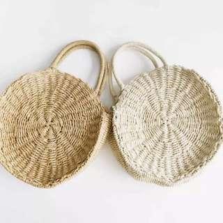 Instock Round ratten basket straw bag
