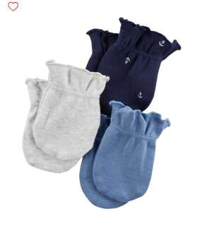 Brand New Carter's 3 Pack Mittens For Baby Boy.