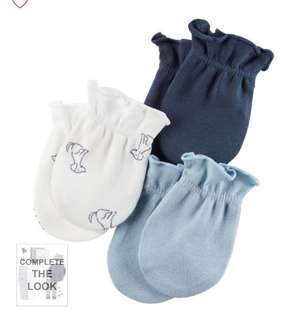 Brand New Carter's 3 Pack Mittens For Baby Boy