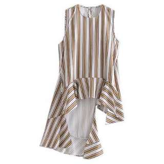 European and American style asymmetrical stripes T-shirt irregular hem leisure sleeveless shirt