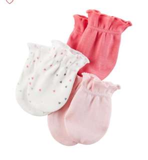 Brand New Carter's 3 Pack Mittens For Baby Girl