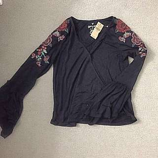 BNWT American Eagle Floral Embroidery Criss Cross Shirt