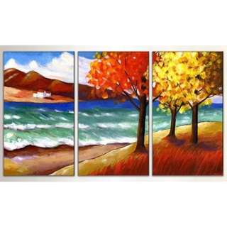 Mountains River Trees Scenery Handpainted Canvas Oil Painting