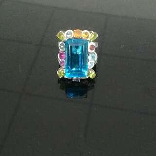 🚚 海藍寶純銀戒