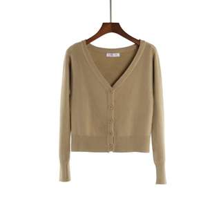 Long sleeve cropped cardigan in camel brown