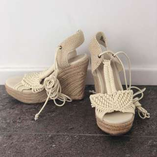 Cream wedge sandals