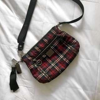 Red Checkered Coach Handbag