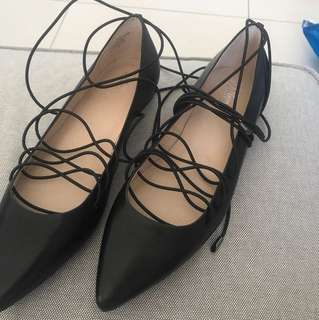 Wittner flats , leather, elastic lace ups BRAND NEW