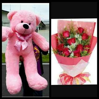 Human size teddy bear with flower bouquet package