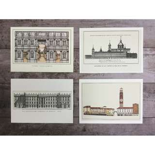 Architecture themed postcards collectibles (set of 12)