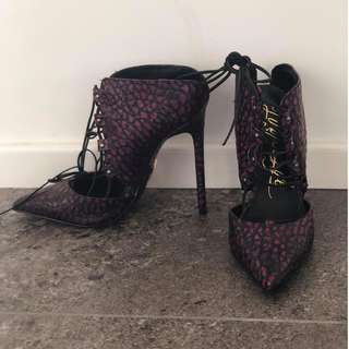 Pink and Black lace-up heel