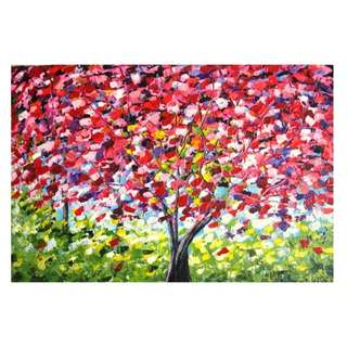 Beautiful Colorful Wishing Tree Handpainted Oil Painting