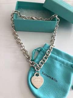 Tiffany經典心型短頸鍊,9成新,有盒連塵袋