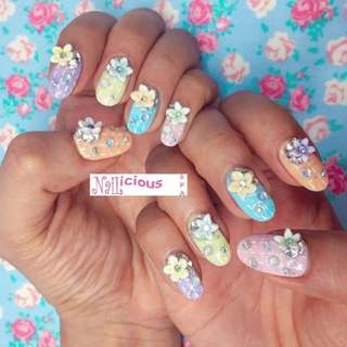 Classic Gel Mani, Colourful Pastel Summer Nails with 3D Flowers and Blings