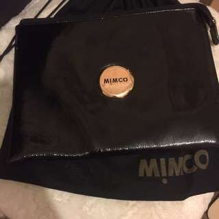 Large mimco patent leather black pouch