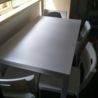 White Ikea table and chairs set