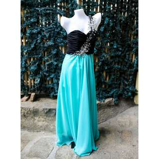 Teal Long gown w/ silver flower ( FOR RENT)