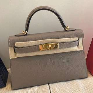 Hermes mini Kelly 2代 M8 Gris Asphalte Epsom皮金釦 A