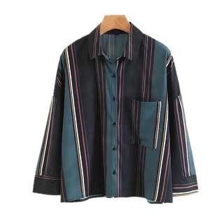European and American style vertical striped loose shirt fall bat sleeve shirt