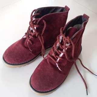 (深紅色) 全新!未穿過!保暖靴 鞋 37碼
