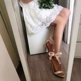 Lace Up/ Ankle Strap Multi-way Heeled Sandals Tie Side Tie Back Bow Ribbon
