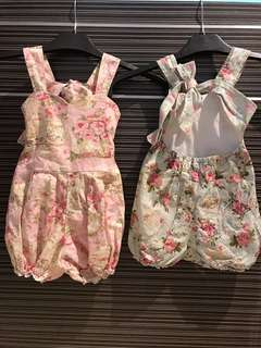 Provence Floral Bow Tie Back Rompers $40 Each