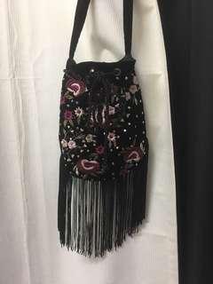 Sportsgirl Bohemian Embroidered Tassel Bucket Bag