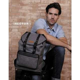 Cabs Pocket Hector - Tas Kerja Punggung Serut. Tas Pria Backpack. Tas Laptop Notebook. Tas Kuliah - Grey