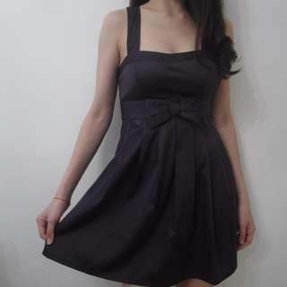 Purple Bow Satin Dress