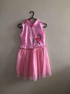 Eastern Pink Cheongsam Dress Fit 7-8Y Gal