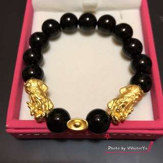 ( In stock ) Pixiu and ingot with onyx bracelet