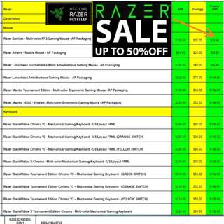 Razer Massive Offer Sales now ON, Hurry Grab it while Stock last. (Page:1) Till 31 Mar 18.