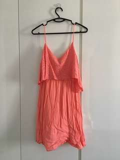 Mango Strappy Overlay Sundress in Salmon Pink