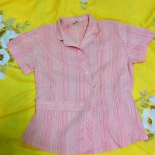 Pink-striped collared top