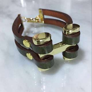 BNIP H Forest Green x Gold Leather Bracelet
