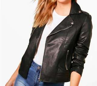 BOOHOO Leather Biker Jacket - Black