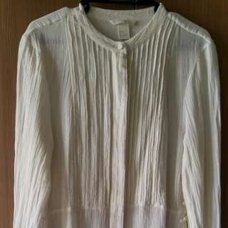 H&M Long Off-White Blouse/Tunic Top