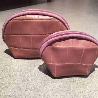 Furla leather pouch set